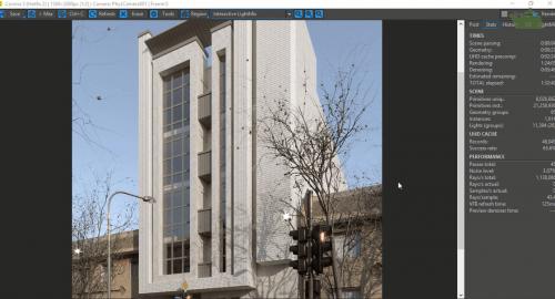 رندر نمای ساختمان مدرن توسط کرونا